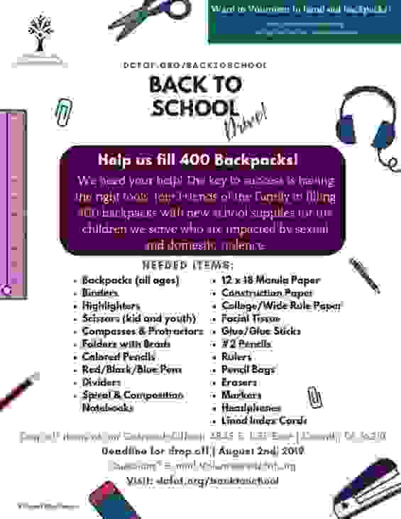 Denton County Friends of the Family Back to School Flyer