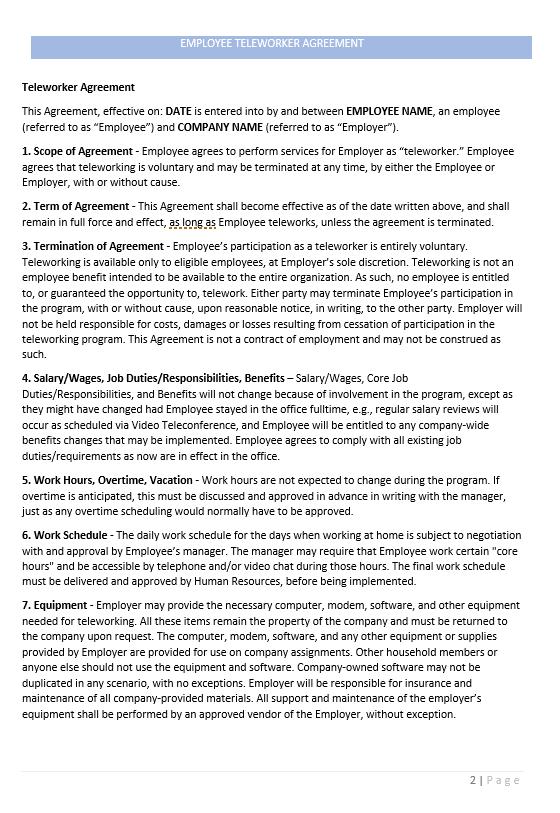 Employee Teleworker Agreement Template
